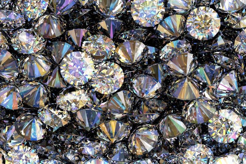 3D rendem de diamantes preciosos ilustração stock