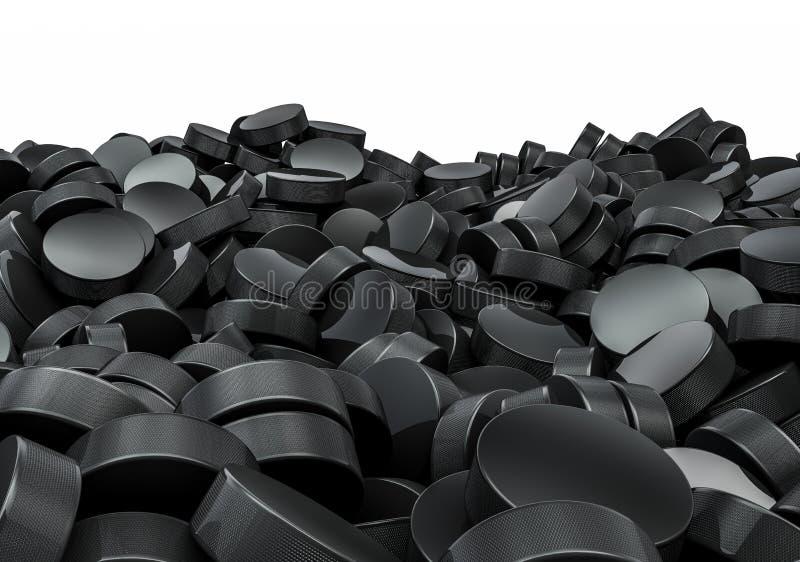 Pilha dos discos de hóquei ilustração do vetor