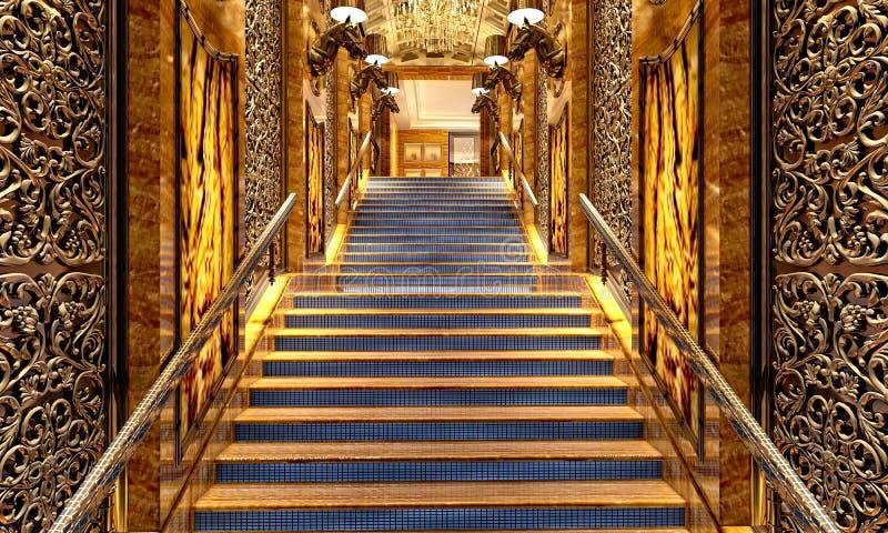 3d rendem de escadas luxuosas do restaurante ilustração stock