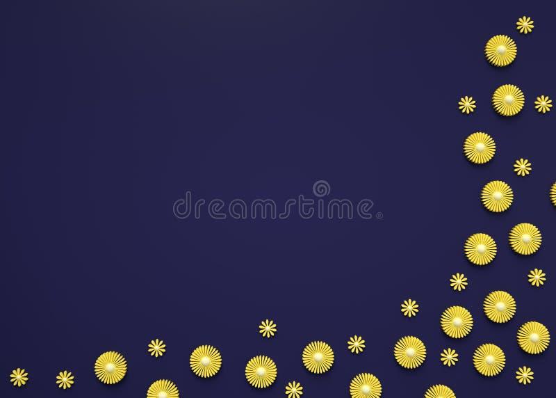 3d rendem de flores amarelas pequenas em escuro - fundo azul Projeto da camomila Cart?o do cumprimento ou do convite Copie o espa fotografia de stock