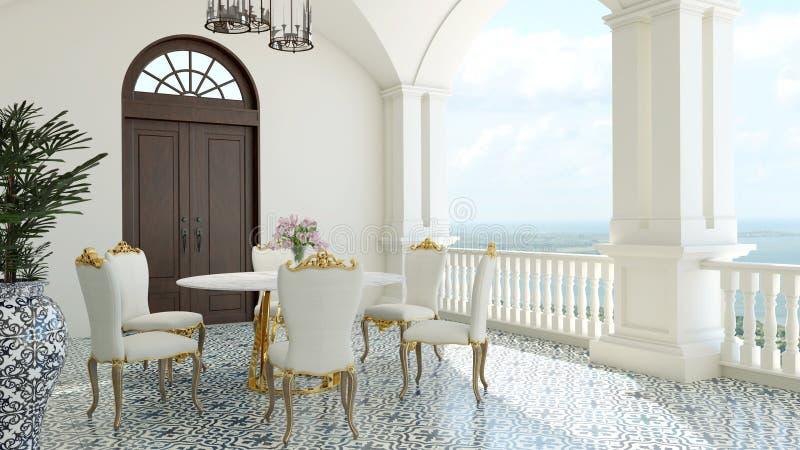 3d rendem de imaginam o jantar mediterrâneo de Itália da opinião luxuosa clássica do mar do balcão ilustração stock