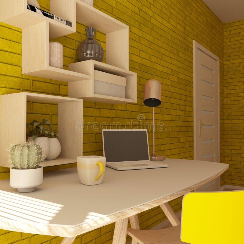 3D rendem de um escritório domiciliário moderno ilustração royalty free
