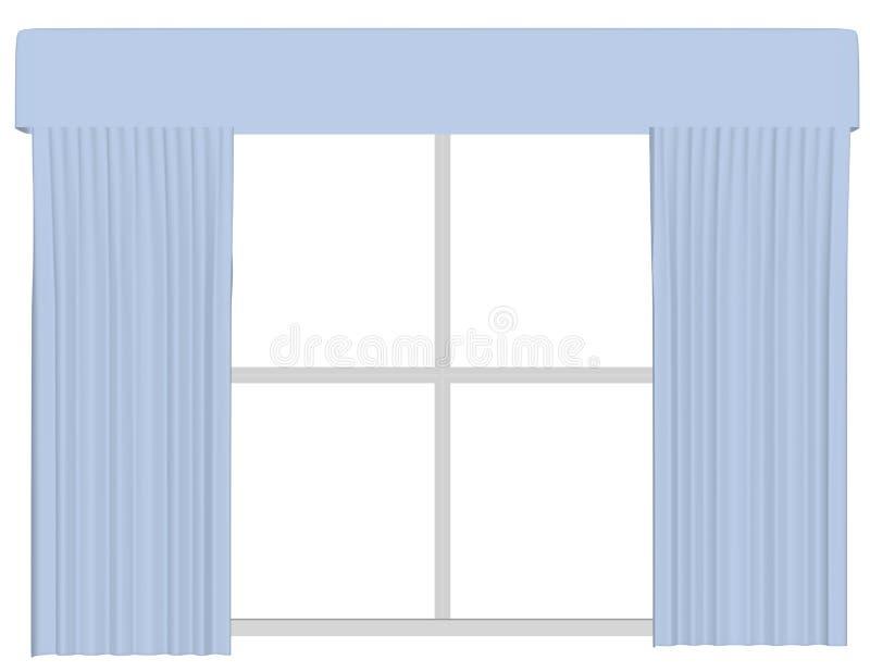 3d rendem de um grupo de cortinas em uma janela ilustração do vetor