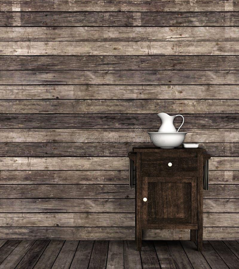 3D rendem de um lavatório do vintage com um prato do jarro, da bacia e de sabão da lavagem em um ajuste retro da sala Ajuste idea imagens de stock royalty free