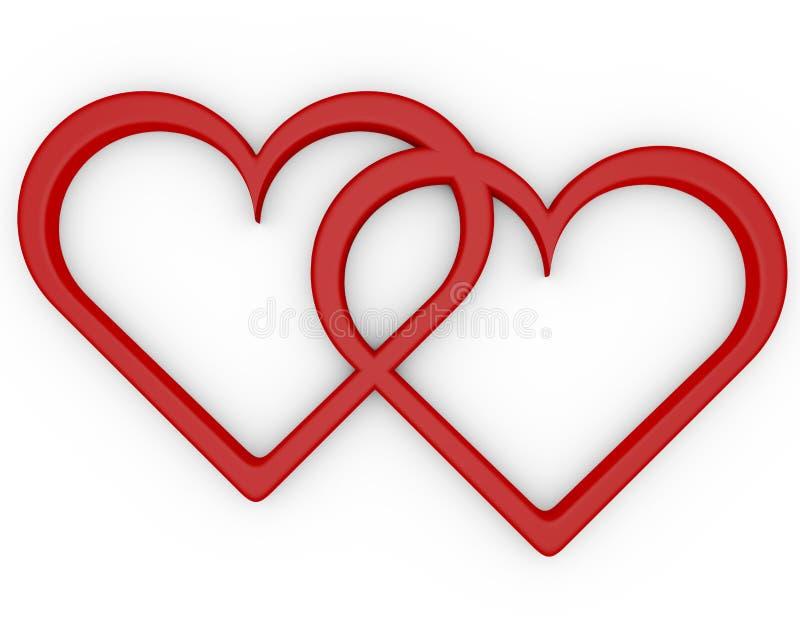 3d rendem de um par de corações abertos ilustração do vetor
