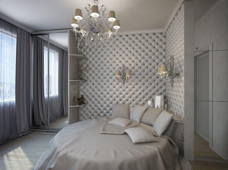 3D rendem de um quarto branco no estilo clássico ilustração royalty free