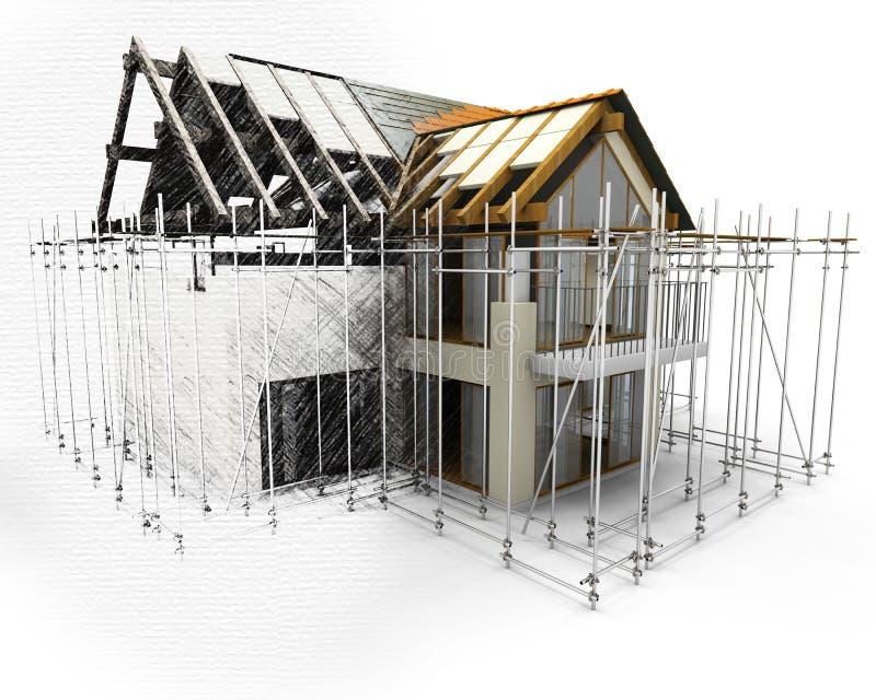 3D rendem de uma casa com o andaime com metade na fase do esboço ilustração do vetor