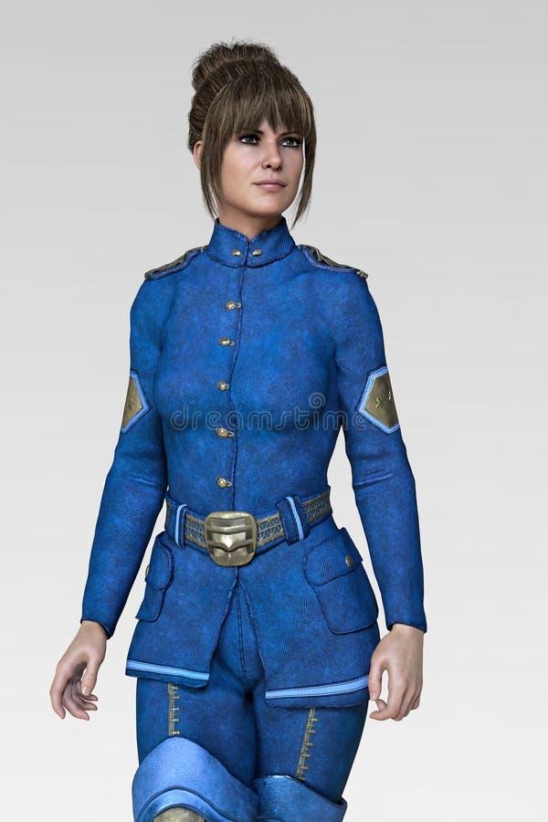 3D rendem de uma mulher bonita que veste um uniforme do oficial da ficção científica ilustração royalty free