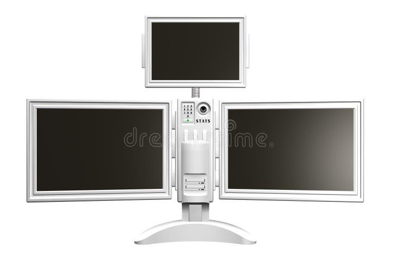 3D rendem de uma unidade tripla futurista do monitor ilustração royalty free