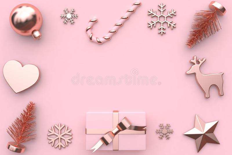 3d rendem a decoração metálica da árvore da neve da caixa de presente da fita do ouro da lustroso-rosa do rosa do sumário foto de stock royalty free