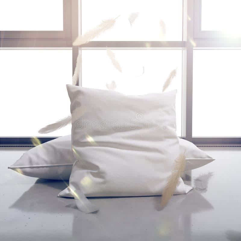 3d rendem descansos e penas no fundo da janela O sol brilha brilhantemente ilustração do vetor