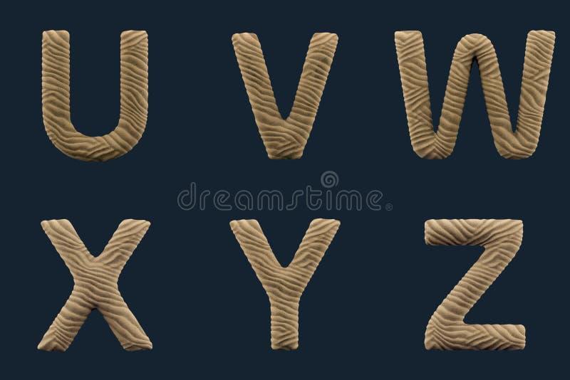 3D rendem do alfabeto da areia ilustração stock