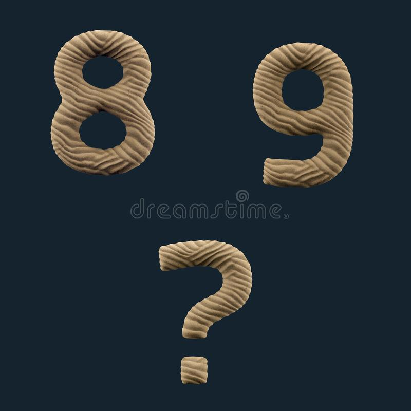 3D rendem do alfabeto da areia ilustração royalty free