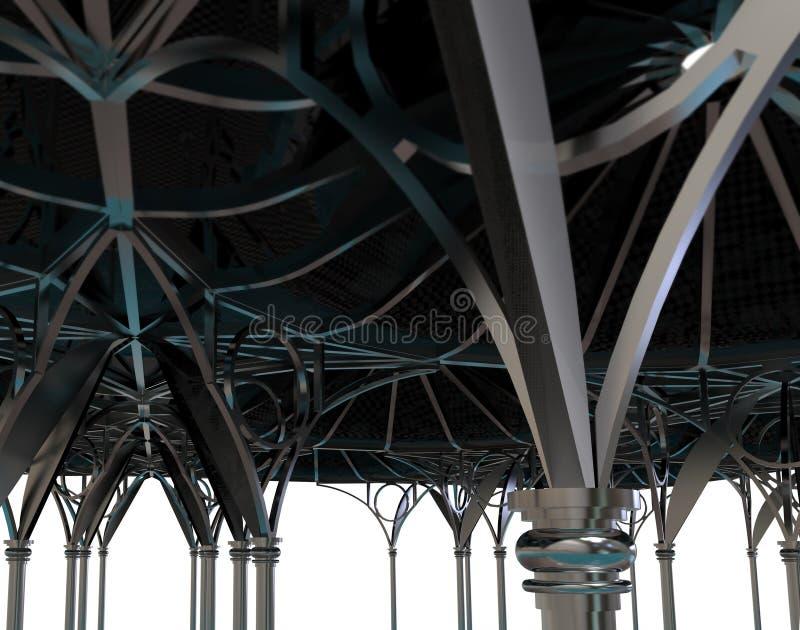 3d rendem do arco do metal no palácio ilustração royalty free