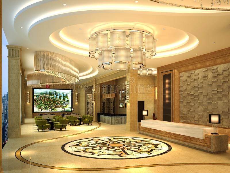 3d rendem do corredor do hotel ilustração royalty free