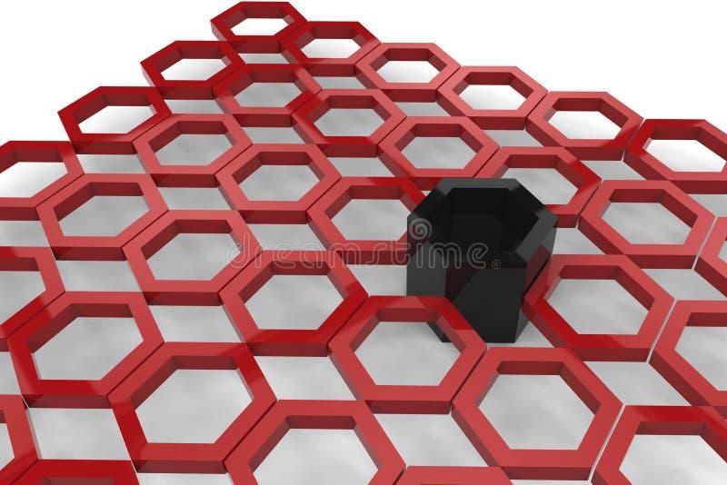 3d rendem do elemento sextavado vermelho do metal ilustração stock