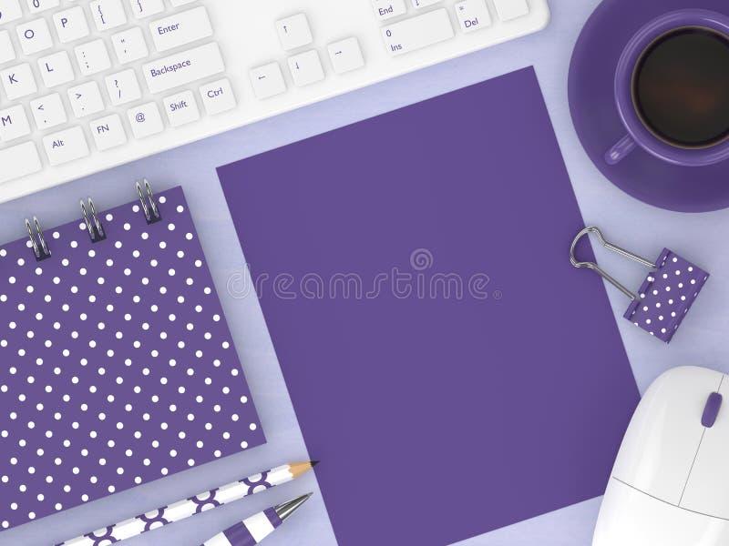 3d rendem do espaço de trabalho da vista superior com ferramentas do escritório ilustração stock