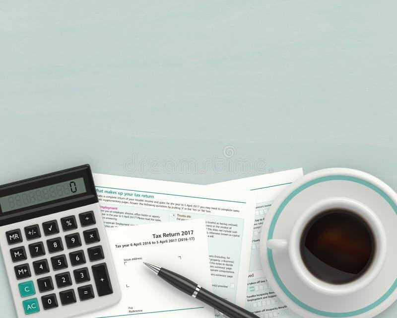 3d rendem do formulário de imposto BRITÂNICO com calculadora ilustração do vetor