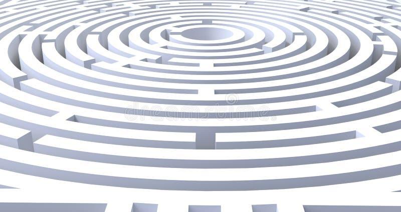 3d rendem do fundo branco abstrato do labirinto circular ilustração do vetor