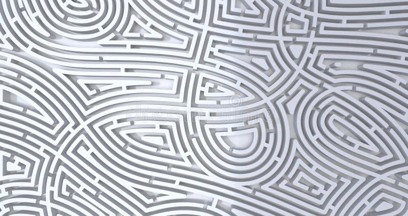 3d rendem do fundo branco abstrato do labirinto branco complicado ilustração do vetor