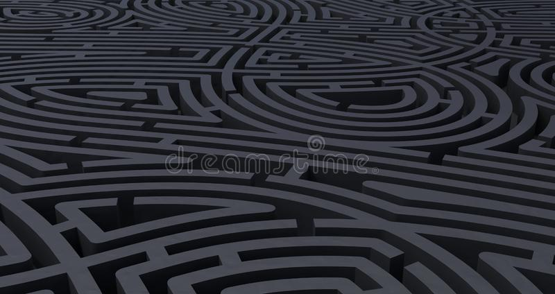 3d rendem do fundo branco abstrato do labirinto preto complicado ilustração stock