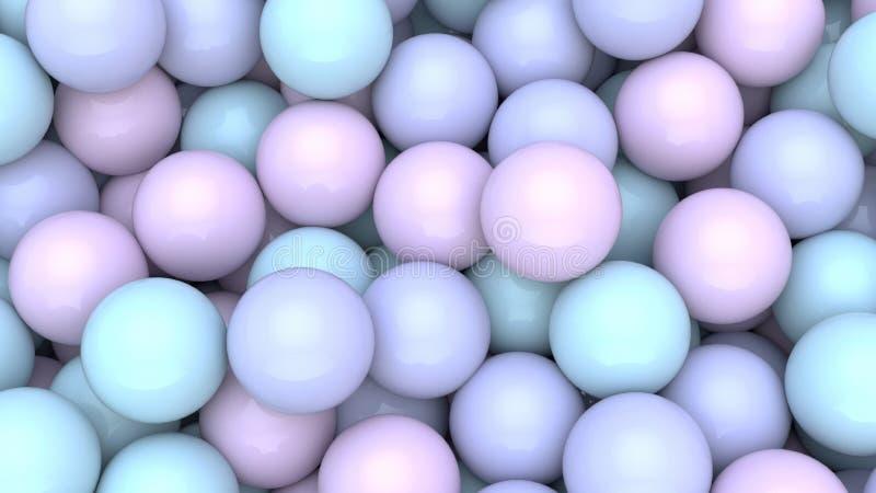 3d rendem do fundo colorido abstrato das bolas das esferas Formas primitivas, projeto minimalistic, decoração do partido ilustração royalty free