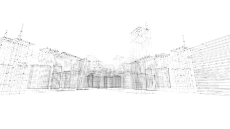 3D rendem do fundo da cidade do wireframe da construção ilustração royalty free