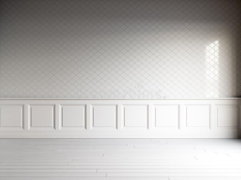 3d rendem do interior branco com painéis clássicos, telhas na parede e o assoalho branco natural ilustração do vetor