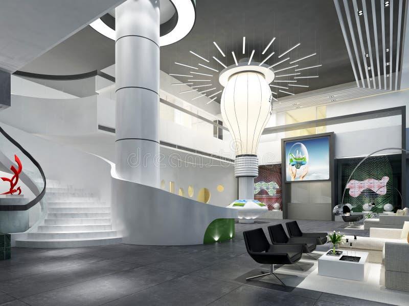 3d rendem do interior moderno da construção ilustração royalty free