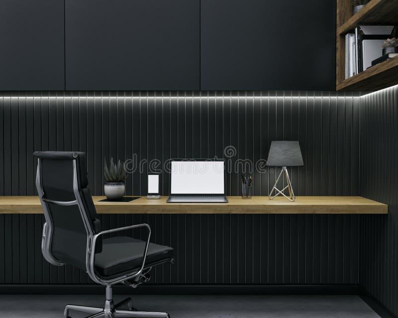 3d rendem do modelo do espaço de trabalho Zombaria do espaço de trabalho acima imagem de stock