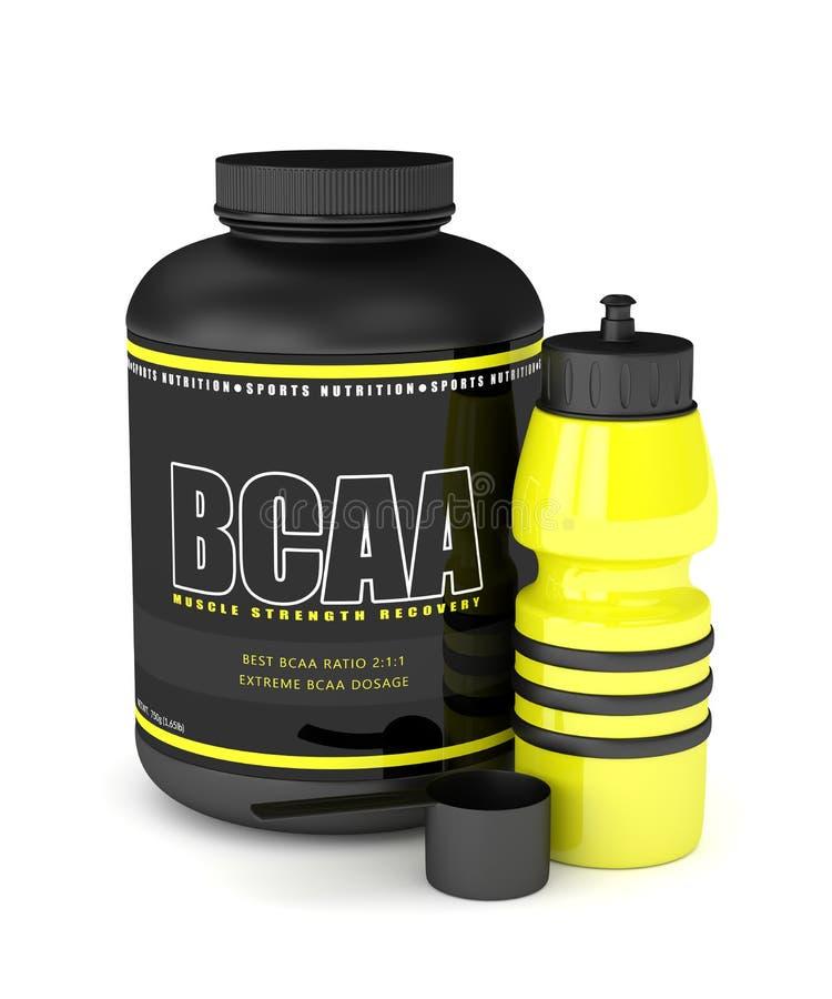 3d rendem do pó de BCAA com garrafa de água ilustração stock