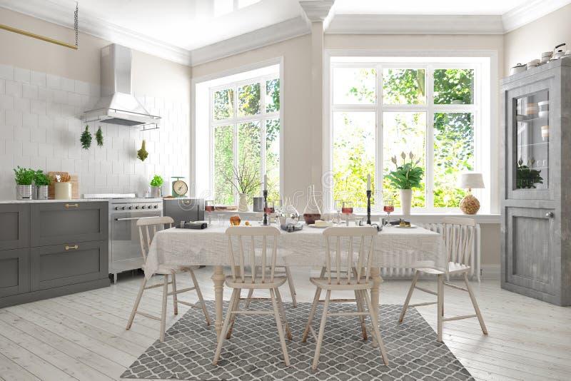 3d rendem do plano escandinavo - cozinha foto de stock