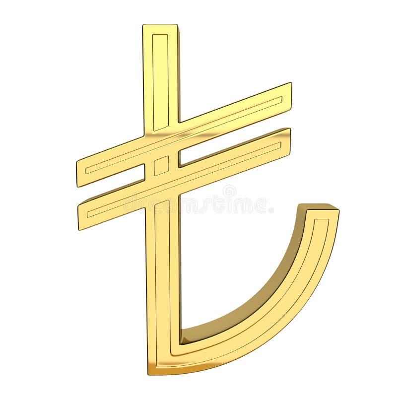 3D rendem do símbolo de moeda, metálico, cor do ouro ilustração royalty free