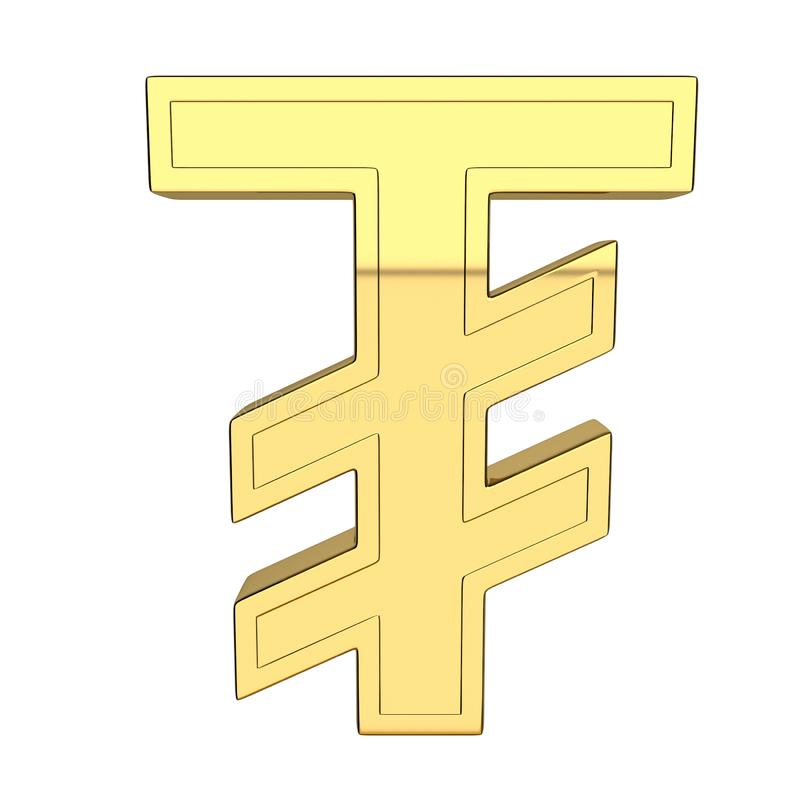 3D rendem do símbolo de moeda, metálico, cor do ouro ilustração stock