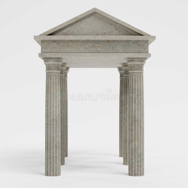 3d rendem do templo doric ilustração stock