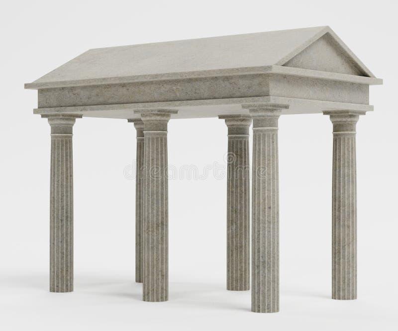 3d rendem do templo doric ilustração do vetor