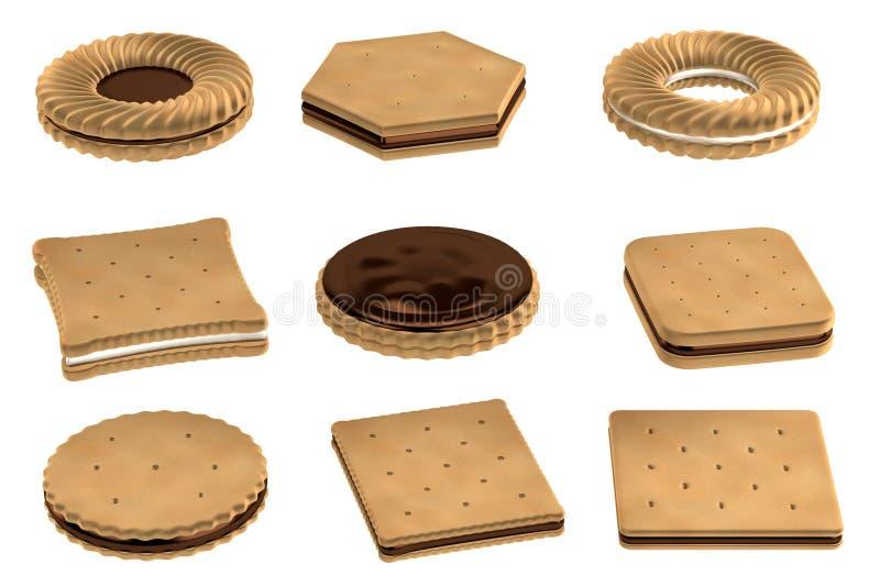 3d rendem dos biscoitos ilustração do vetor