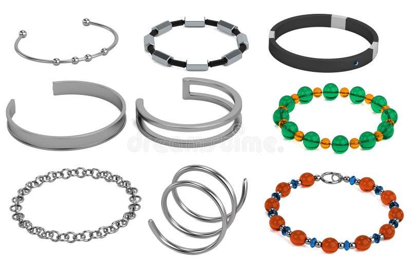 3d rendem dos braceletes ilustração stock