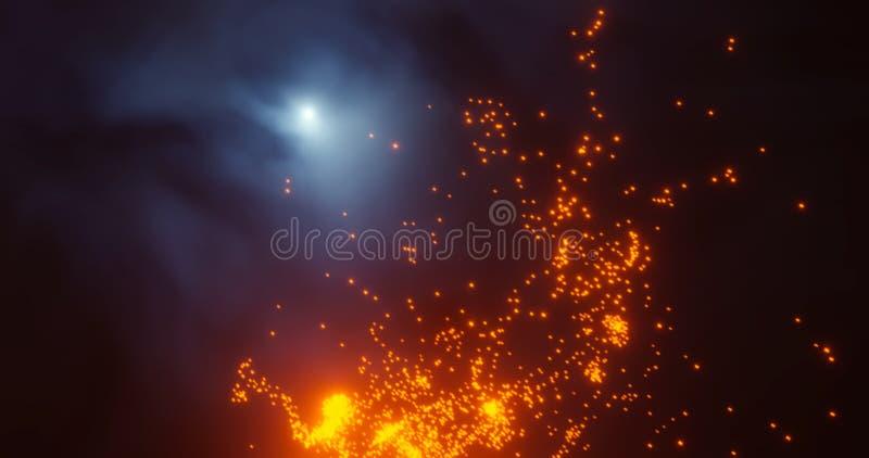 3d rendem Estrelas vermelhas do Natal e remoinhos efervescentes do ano novo da poeira de estrela em um bokeh preto do fundo festã ilustração do vetor