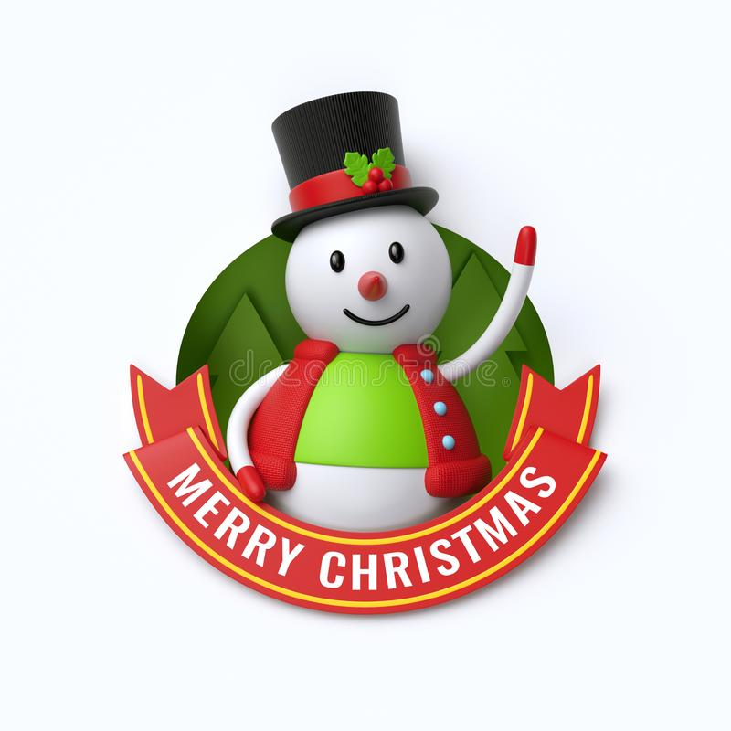 3d rendem, Feliz Natal text, boneco de neve bonito, personagem de banda desenhada ilustração stock