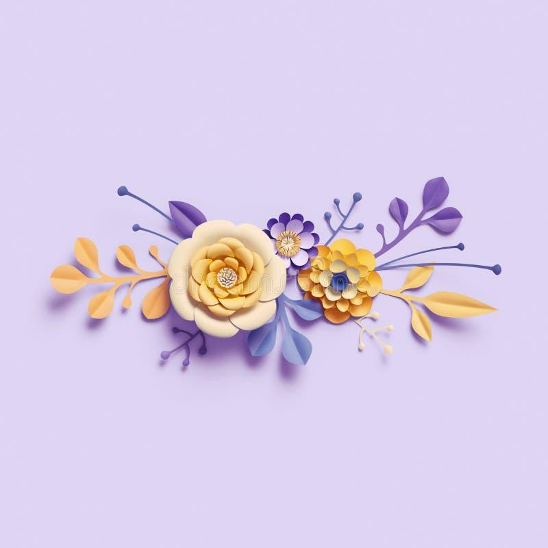 3d rendem, flores de papel amarelas no fundo violeta, ramalhete floral, beira horizontal, elementos do ofício, arranjo botânico ilustração stock