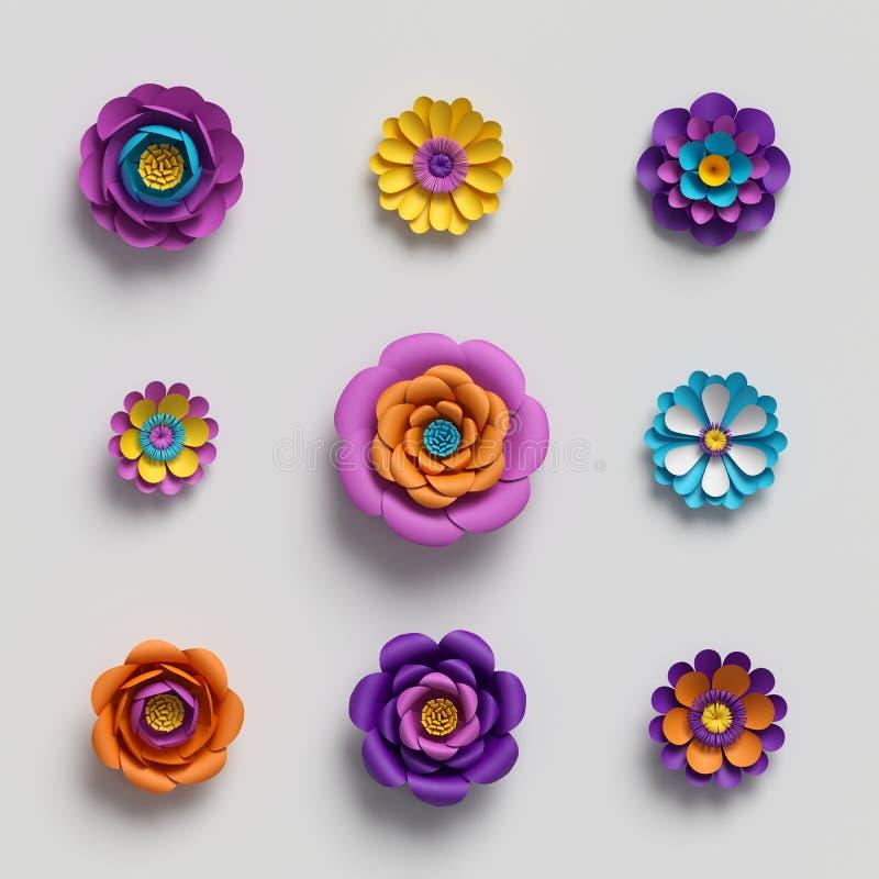 3d rendem, flores de papel decorativas, fundo floral, teste padrão botânico, cores vívidas dos doces, paleta vibrante, isolada ilustração do vetor