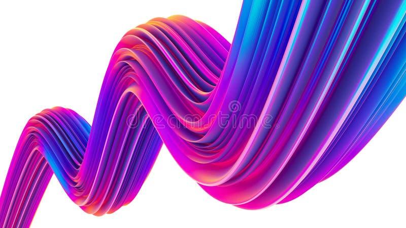 3D rendem a forma fluida ultravioleta holográfica abstrata para o projeto na moda do Natal imagens de stock