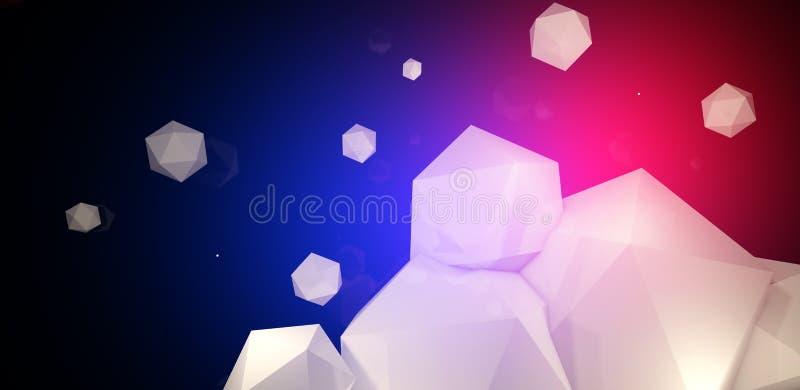 3d rendem Fundo abstrato com um polígono, luz de néon ilustração royalty free