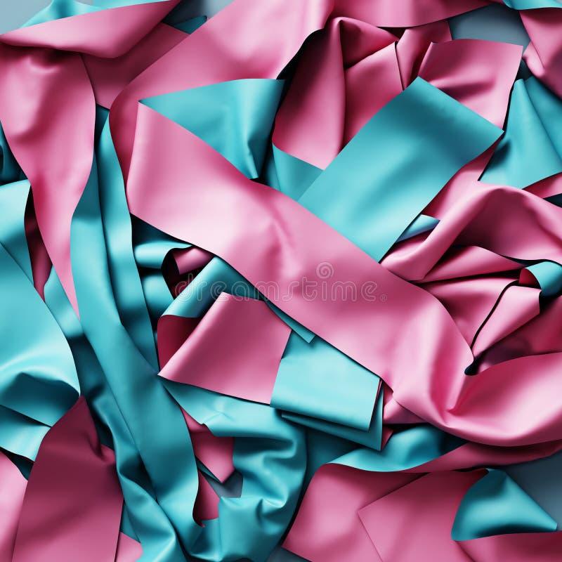 3d rendem, fundo abstrato, corte azul cor-de-rosa dobraram fitas ilustração do vetor
