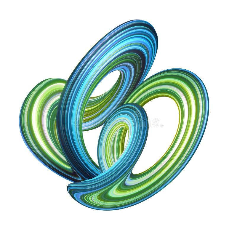 3d rendem, fundo abstrato, forma curvada moderna, laço, deformação, linhas coloridas, luz de néon, objeto distorcido azul verde ilustração royalty free