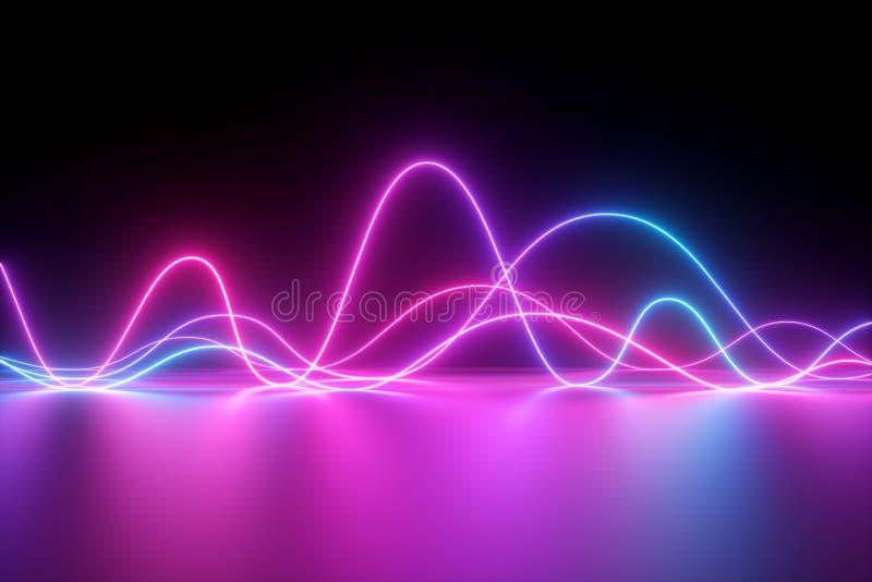 3d rendem, fundo abstrato, luz de néon, linhas elétricas do pulso, mostra do laser, impulso, carta, linhas ultravioletas, energia ilustração stock