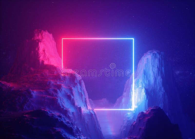 3d rendem, fundo abstrato, paisagem cósmica, incandescência clara de néon do azul cor-de-rosa portal quadrado, realidade virtual, ilustração royalty free