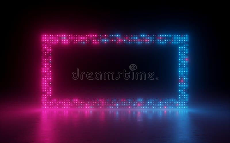 3d rendem, fundo abstrato, pixéis da tela, pontos de incandescência, luz de néon, realidade virtual, espectro ultravioleta, fase  ilustração stock