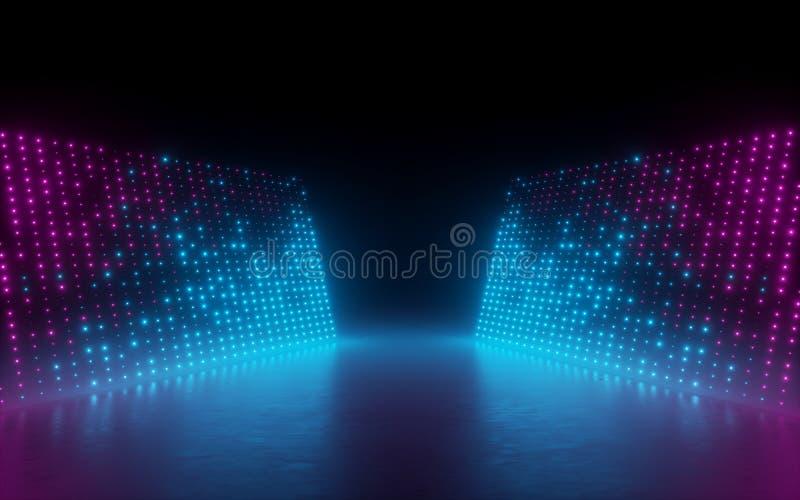 3d rendem, fundo abstrato, pixéis da tela, pontos de incandescência, luzes de néon, realidade virtual, espectro ultravioleta, fas ilustração stock
